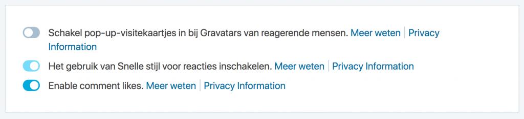 Illustratie: screendump scherm Jetpack waar de visitekaartjes van Gravatar uitgezet kunnen worden.