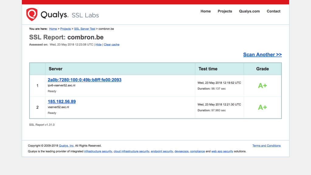 Screendump van een test van de SSL van ComBron.be.