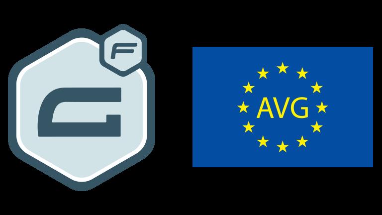 Afbeelding van het logo van Gravity Forms en de Europese vlag met de letters AVG erop.