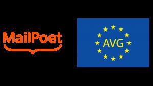 Afbeelding van het logo van Mailpoet met rechts van het logo de Europese vlag met daarop de letters AVG.