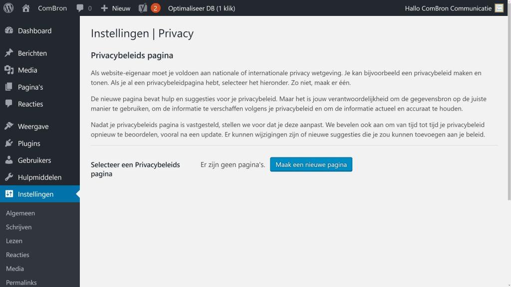 Screendump WordPress cms Intellingen > Privacy.