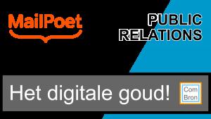 Afbeelding met het logo van MailPoet. Start een nieuwsbrief het digitale goud. Public relations.
