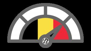 Afbeelding van een snelheidsmeter met een Belgische vlag en het logo van WordPress. De afbeelding hoort bij een artikel over je website sneller maken om beter gevonden te worden door Google.
