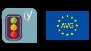 Png (afbeelding) van het logo van Yoast met ernaast een Europese vlag. Op de vlag staan de letters AVG.