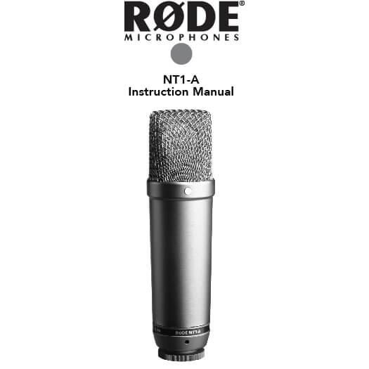 Afbeelding van de voorpagina van de handleiding van de Rode NT1-A microfoon.