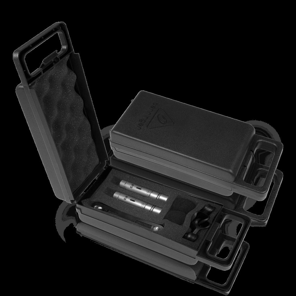Foto Behringer C-2 microfoons in koffer voor Vlaamse handleiding.