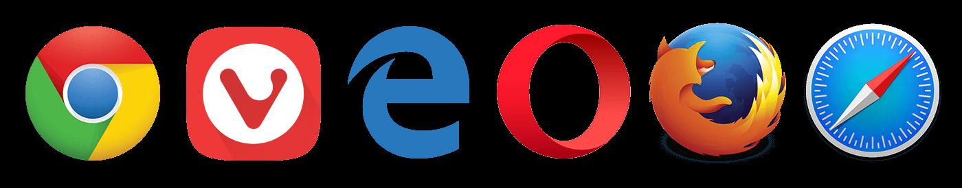 Logo's van de browsers Chrome, Vivaldi, Edge, Opera, Firefox en Safari.
