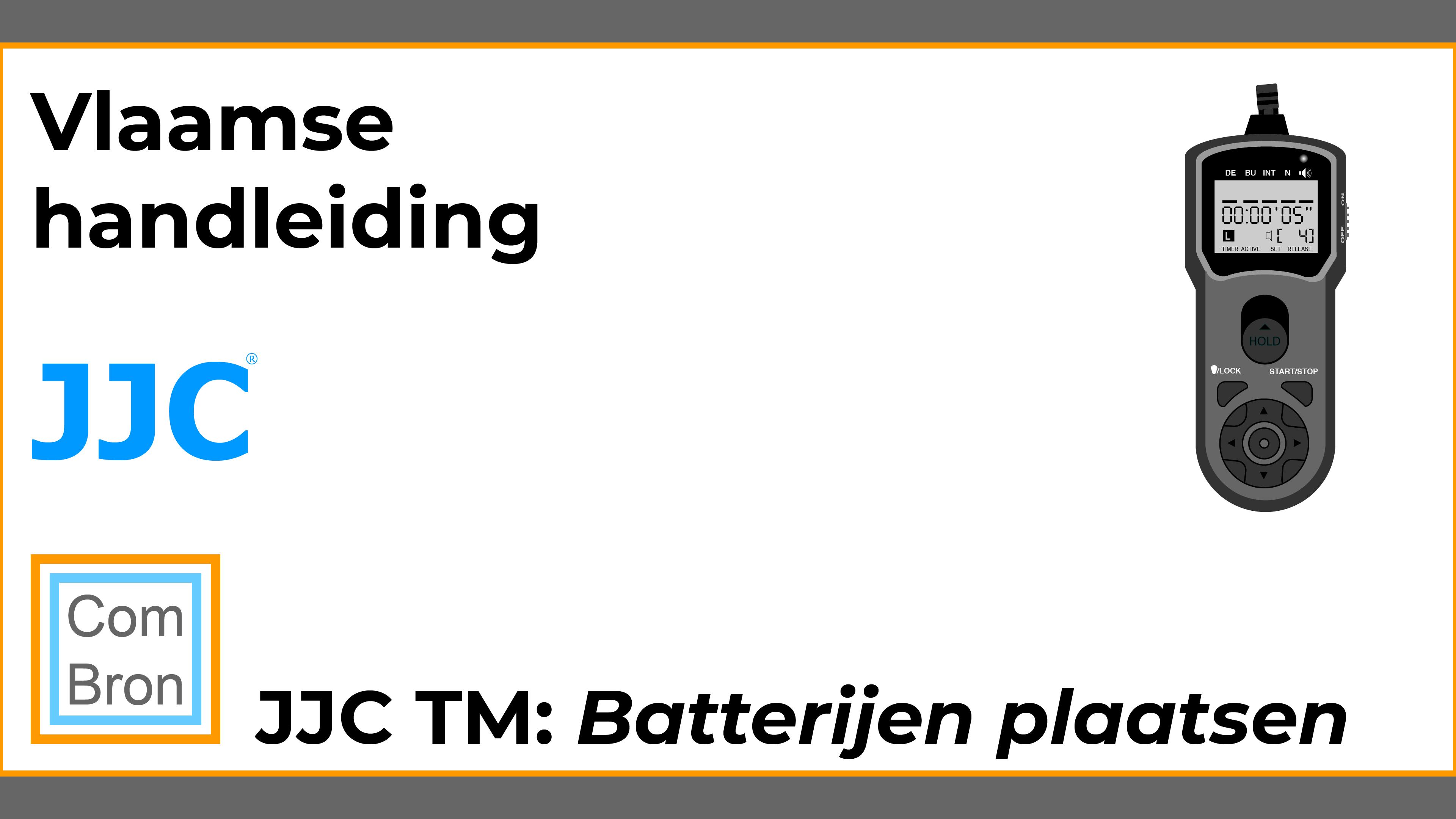 Batterijen plaatsen in de JJC TM afstandbediening voor fotocamera.