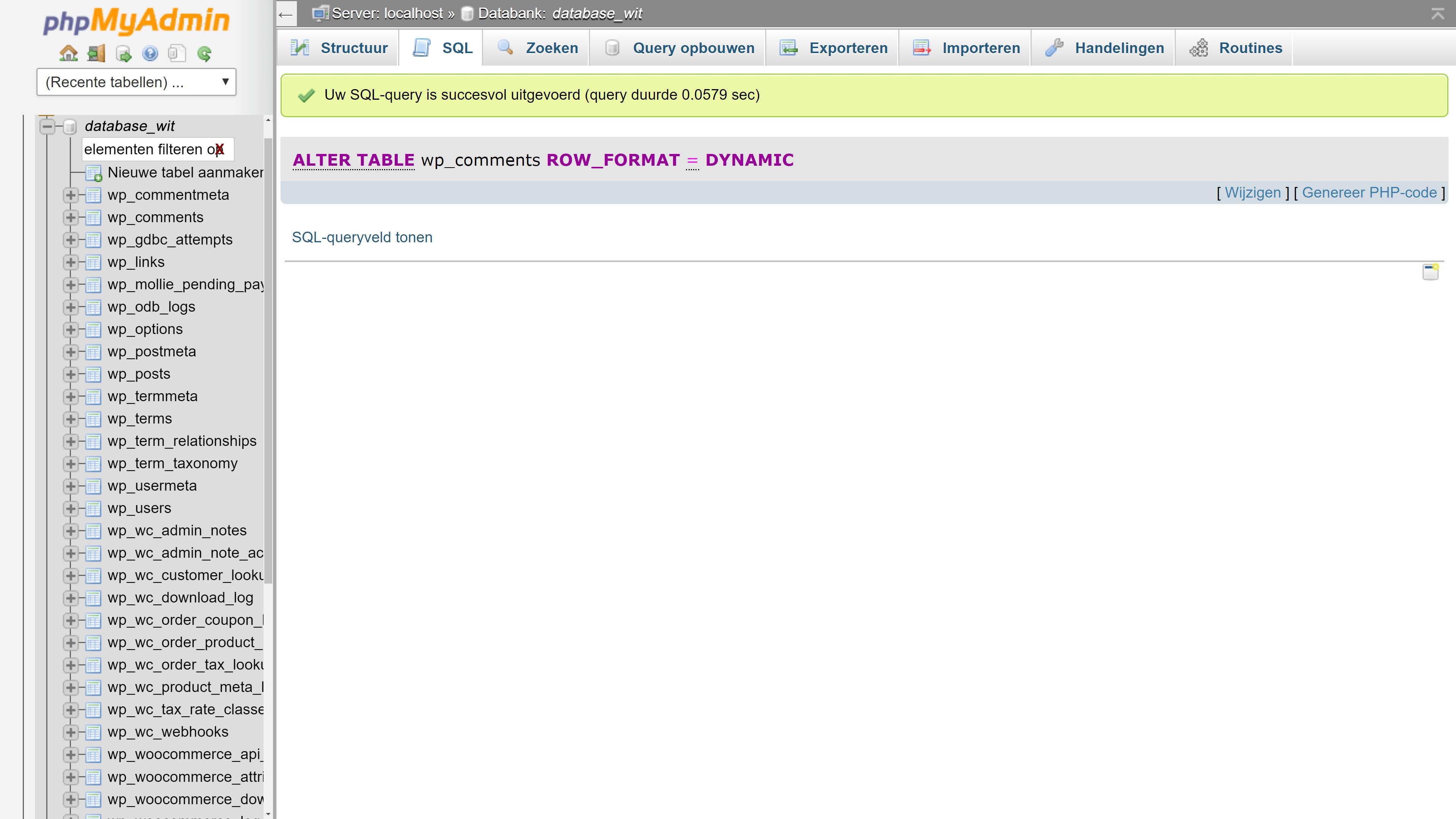 Screendump phpMyAdmin SQL-query succesvol uitgevoerd na foutmelding #1709 bij het omzetten naar InnoDB.