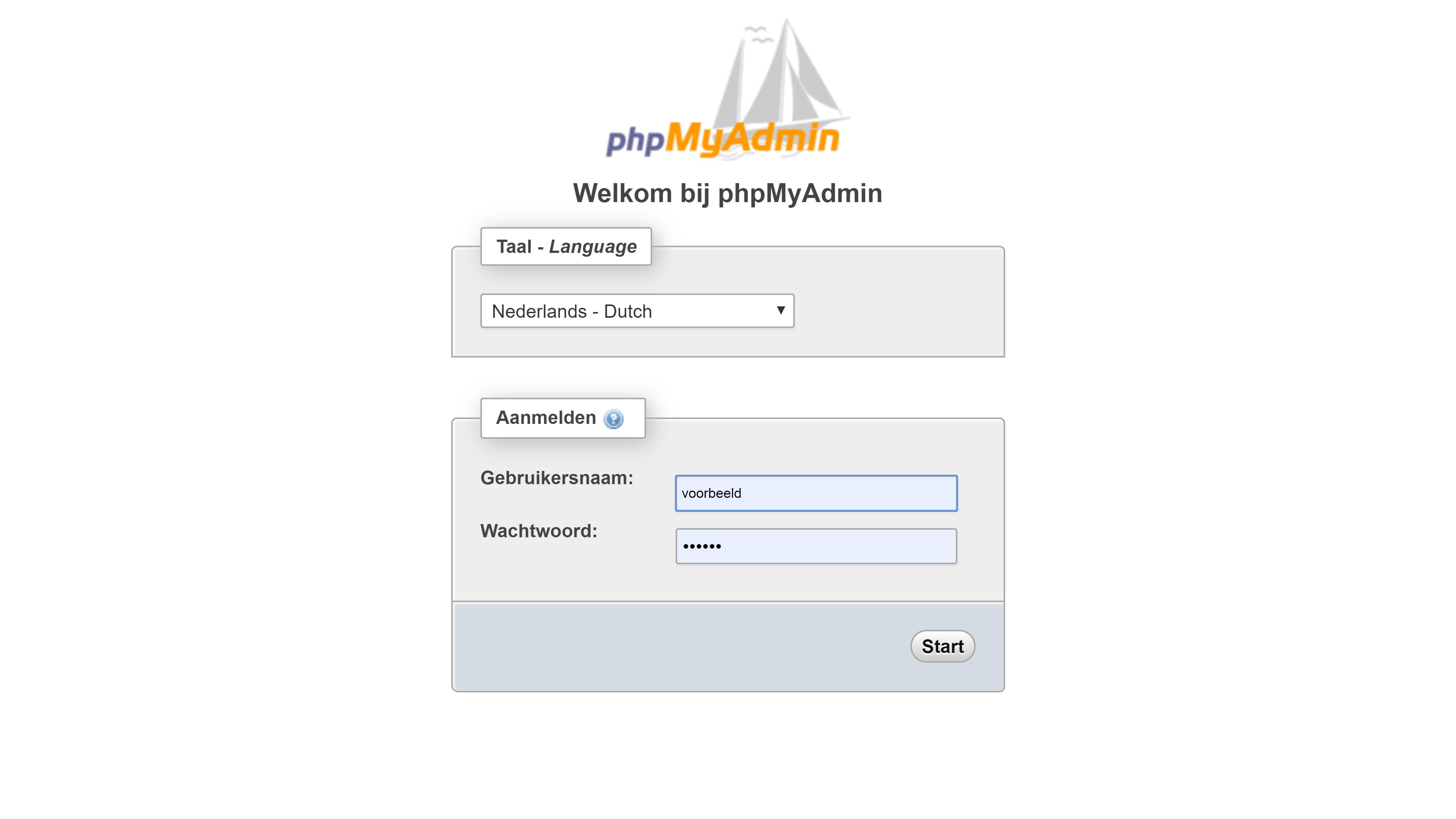 Afbeelding van het inlogscherm van phpMyAdmin.