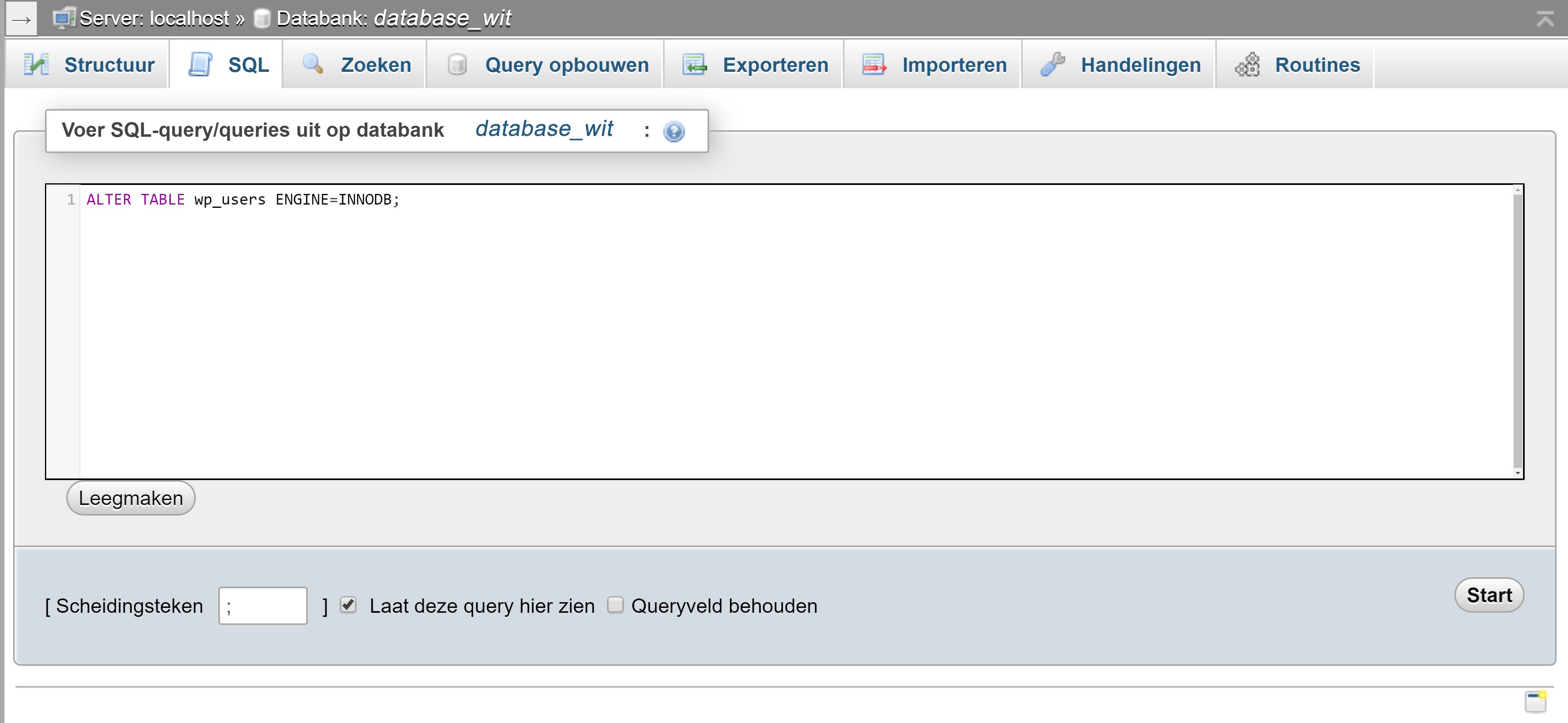 Screendump omzetten naar InnoDB in het tabblad SQL van phpMyAdmin.