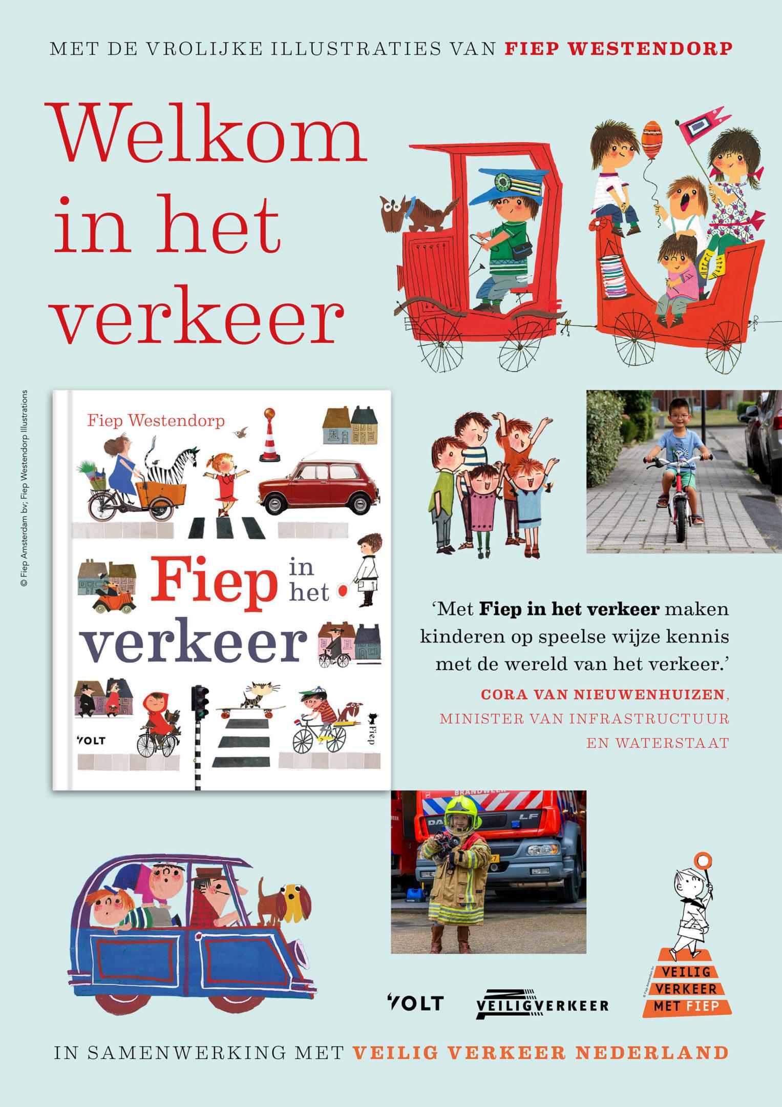 """Poster """"Fiep in het verkeer"""" kinderboekenweek."""