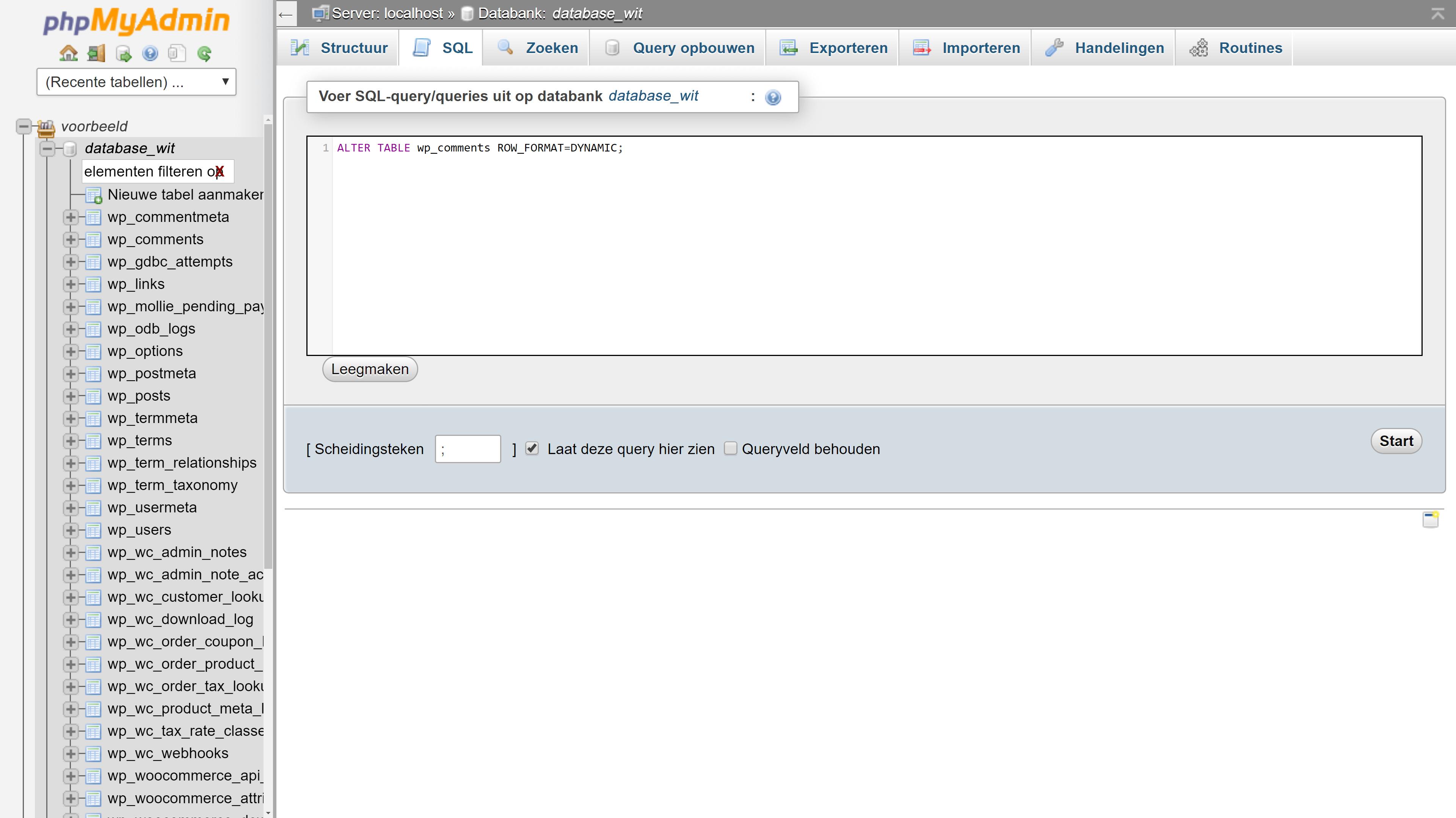 Screendump met ALTER TABLE wp_comments ROW_FORMAT=DYNAMIC tekst om in te vullen. De tekst en de afbeelding horen bij de handleiding omzetten tabellen voor InnoDB.