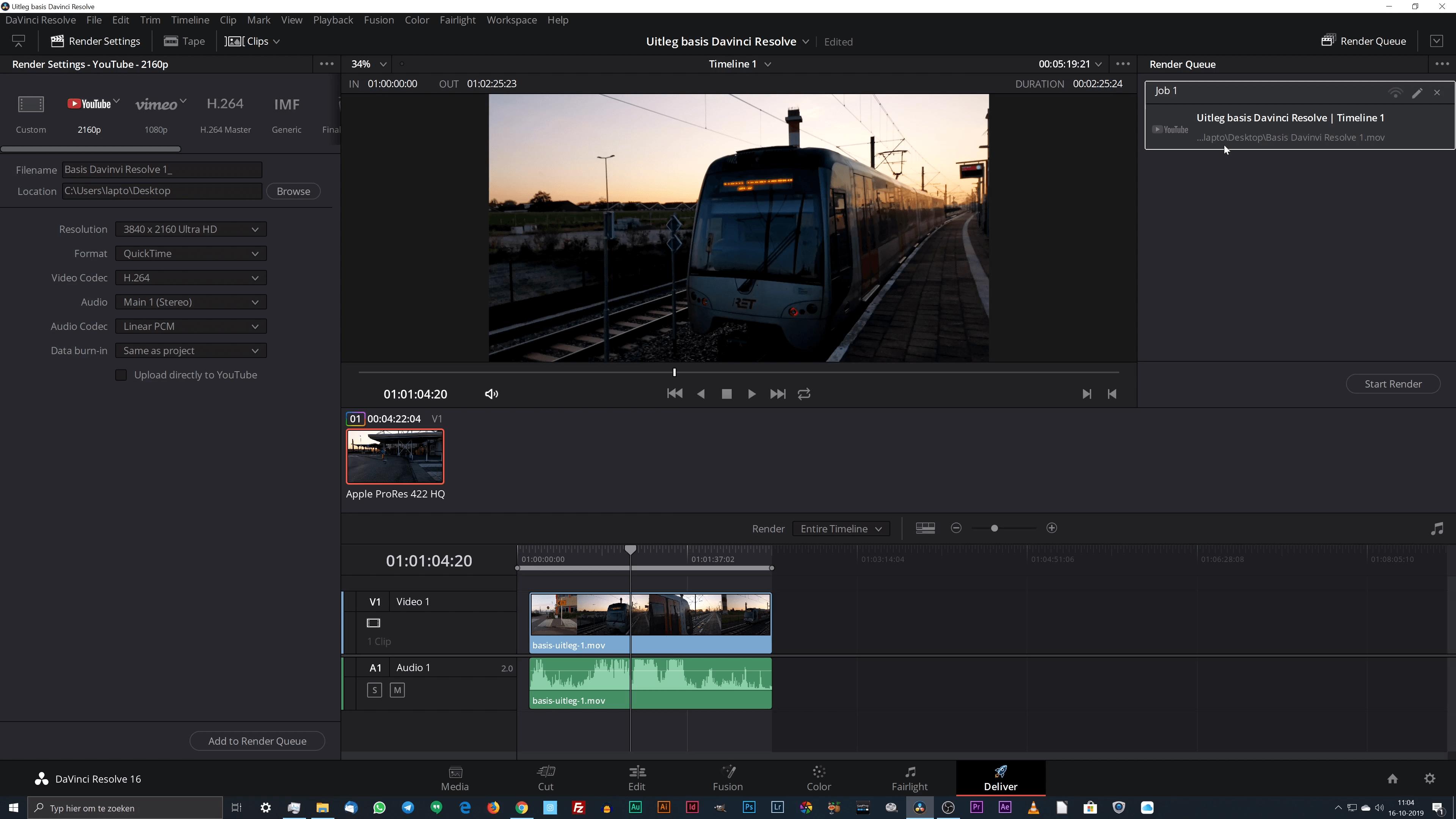 Video renderen met DaVinci Resolve.