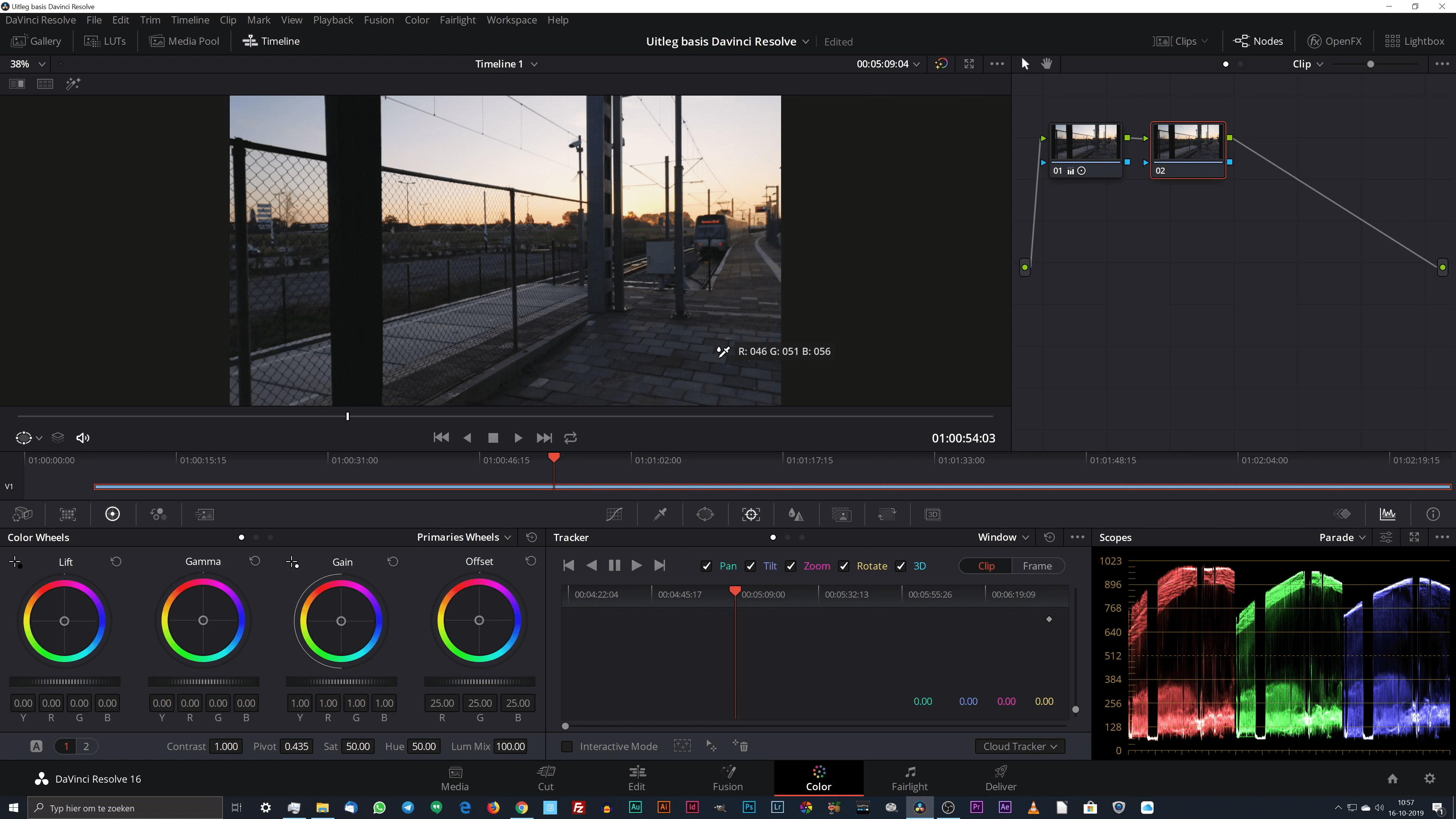 White balance of witbalans aanpassen in DaVinci Resolve 16 met de eyedropper.